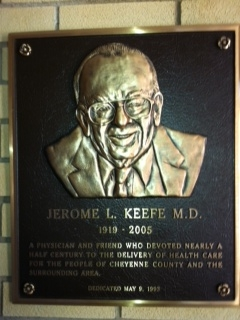 Jerome L. Keefe MD honorary plaque